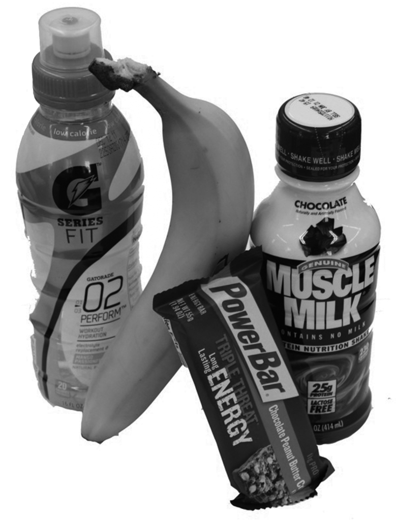 Mix up your pre-work out snack with Gatorade Fit, a banana, Muscle Milk, and a power bar.