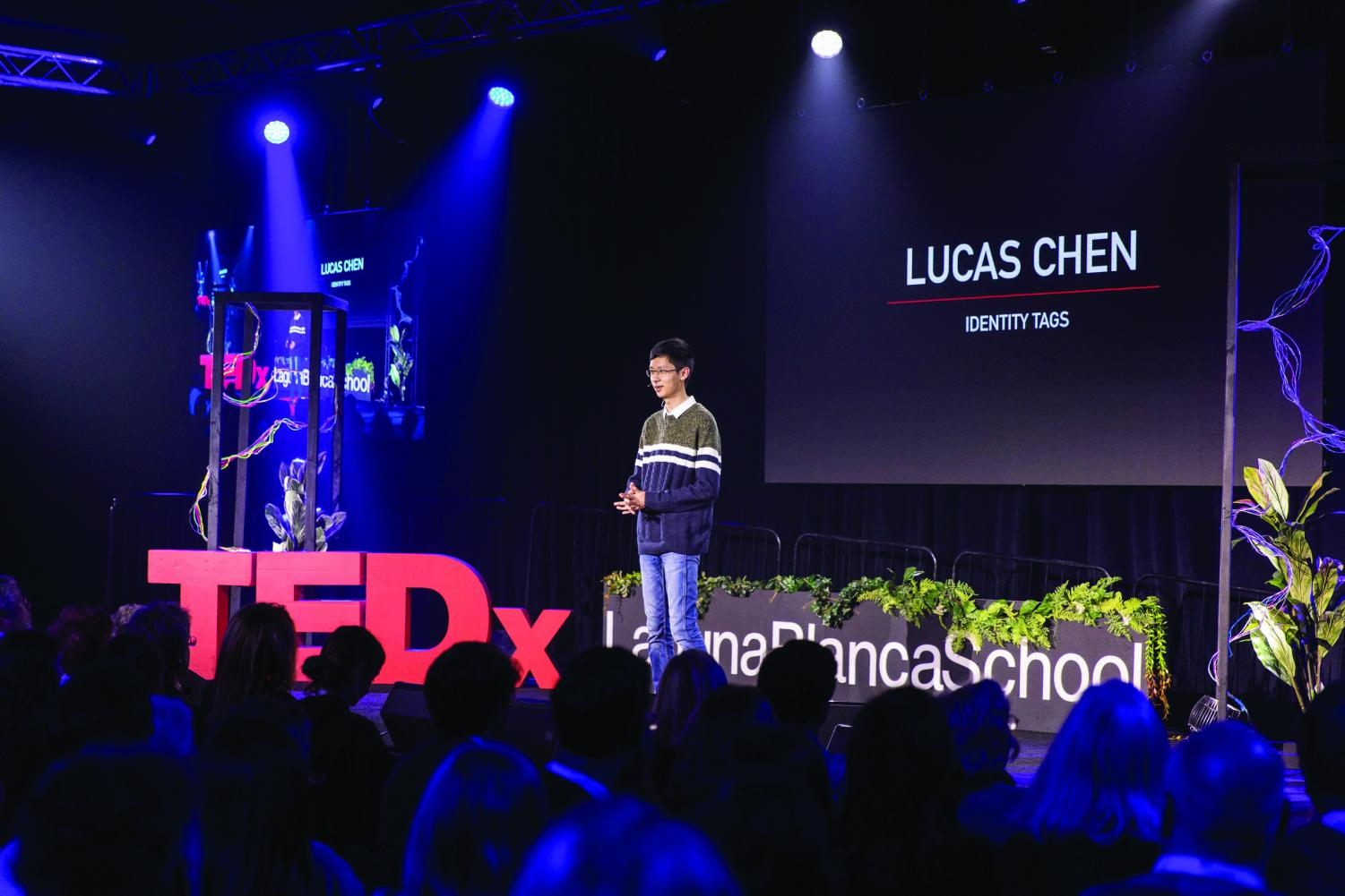 Sophomore Lucas Chen presents at the TEDXLagunaBlanca event and discusses the barrier and tags that come with being a Chinese student in America.