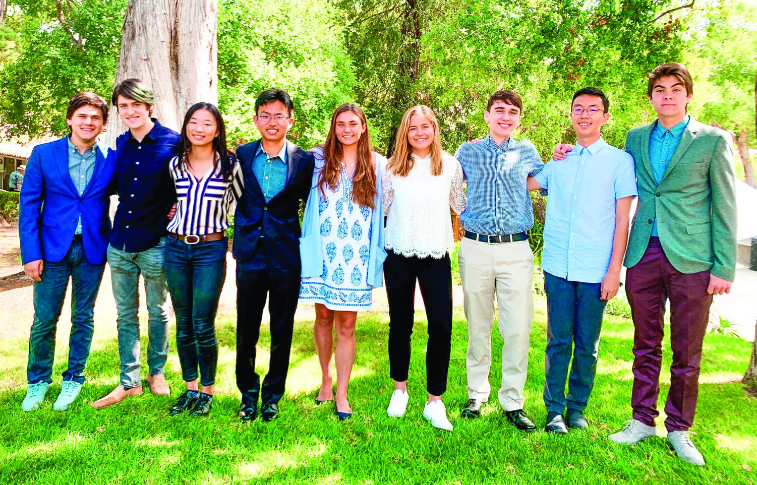 A gathering of newly inducted Cum Laude students following the official induction assembly. From left to right: Jack Stein '19, Jordan Bollag '19, Lucy Cao '20, Kai Nakamura '20, Audrey Murphy '20, Kiki Tolles '20, Bennett Coy '19, Bowen Bai '19, Caetano Perez-Marchant '20