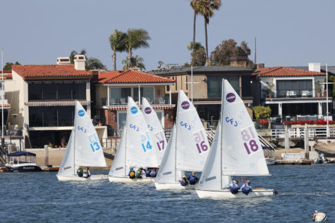 Santa Barbara High School Racing Corona Del Mar in Newport Harbor.