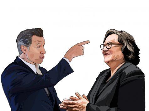 Governor Gavin Newsom (left) gesticulating with Santa Barbara Mayor Cathy Murillo.