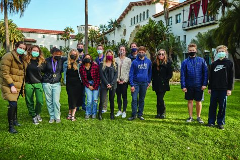The Mock Trial team assembles in front of the Santa Barbara Courthouse. Victoria Campbell Goldman '23; Fiona Hernandez '23; Jaleya Calloway '23; Claire Kellett '23; Dylan Charney '24; Jade Silva '23; George Nicks '22; Attorney Coach Shelly Mossembekker; Attorney Coach Sarah Barkley; Lead Attorney Coach Neil Levinson; Aden Meisel '23; Teacher Coach Jessica Tyler; Kent Dunn '23; Robert (Robbie) Dunn '23. Note not all members are pictured.