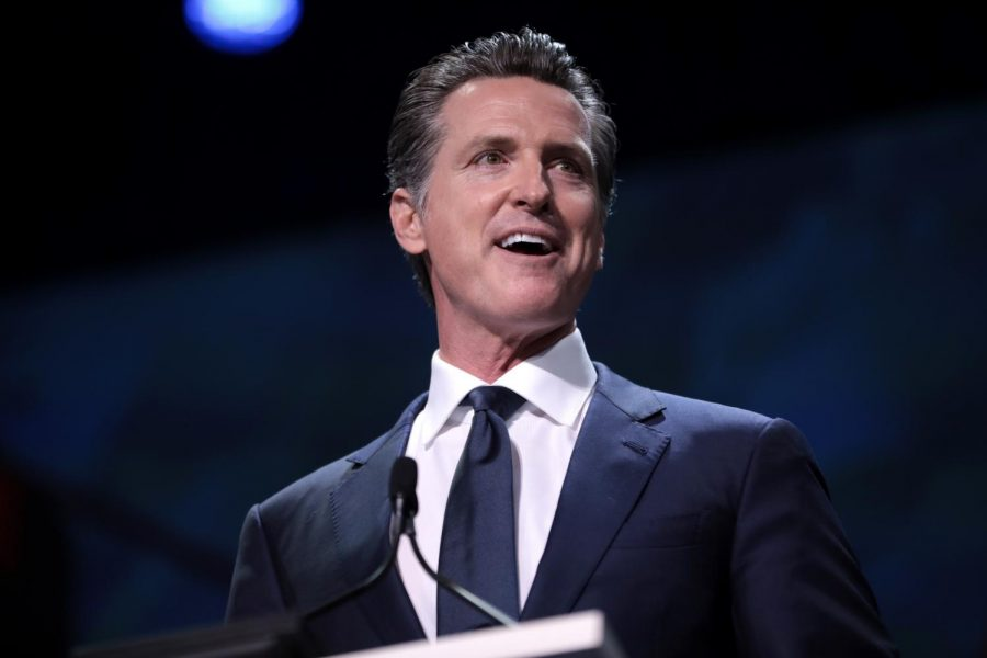 Governor+Gavin+Newsom+speaking+with+attendees+at+the+2019+California+Democratic+Party+State+Convention+at+the+George+R.+Moscone+Convention+Center+in+San+Francisco%2C+California.